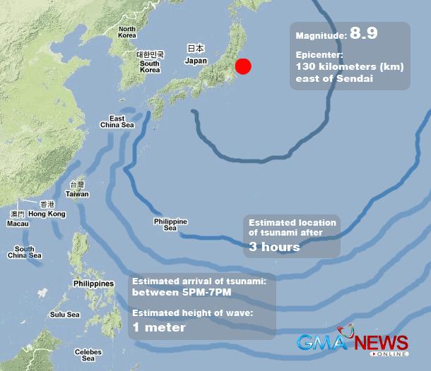 Tsunami Alert Up Over PHL Provinces After Japan Quake News - Japan 2011 map