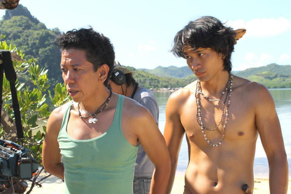 Director Auraeus Solito (left) and actor Adrian Sebastian on the set ...