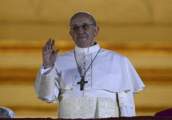 Bergoglio, Argentine cardinal and Jesuit, is Pope Francis I. Newly elected Pope Francis, Cardinal Jorge Mario Bergoglio of Argentina, appears on the balcony of St. Peter's Basilica after being elected by the conclave of cardinals, at the Vatican, March 13, 2013. White smoke rose from the Sistine Chapel chimney and the bells of St. Peter's Basilica rang out on Wednesday, signaling that Roman Catholic cardinals had elected a pope to succeed Benedict XVI. REUTERS/Dylan Martinez 