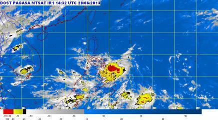 TS Gorio over Eastern Visayas, Bicol as of 10:38 p.m. of June 28