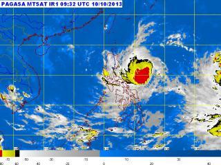 Tropical Storm Santi satellite image as of 6:00 p.m., October 10