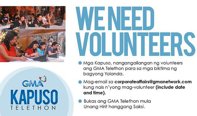 gma kapuso foundation calls for donations volunteers for typhoon