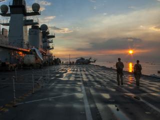 British warship caps relief stint for Yolanda victims