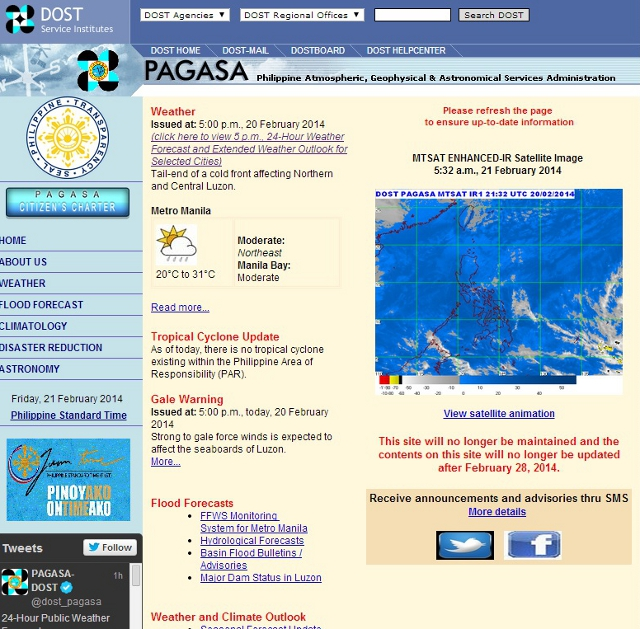 PAGASA pulling plug on old website by end-February
