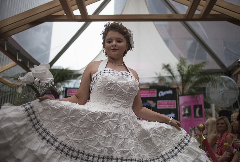 Winner crowned in 10th annual New York toilet paper wedding dress contest