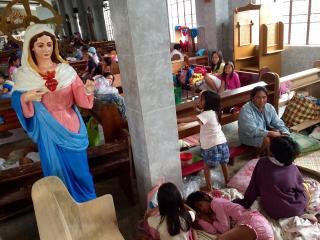 Sorsogon residents find shelter in a church