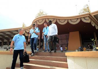Popes Swiss Guards inspect Quirino Grandstand