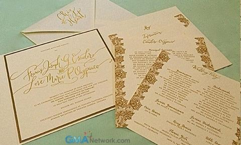 look inside chiz and heart s wedding invitation showbiz gma