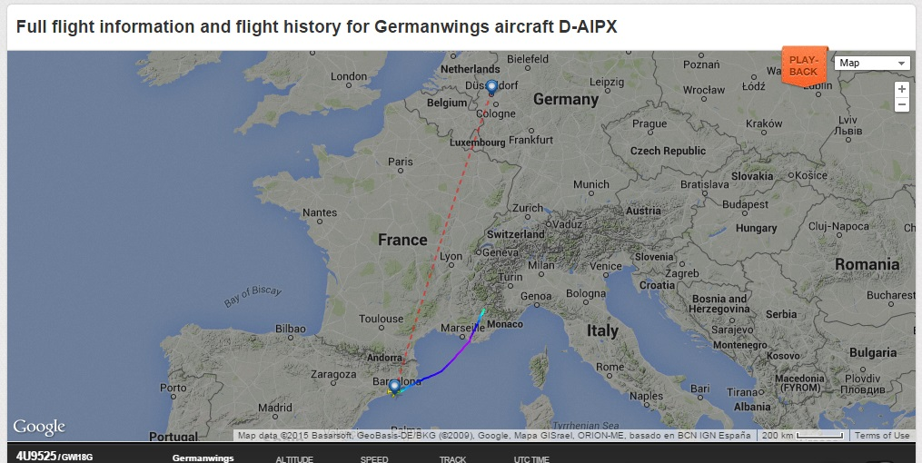 LOOK: Flight track and last position of crashed Germanwings Flight 4U9525