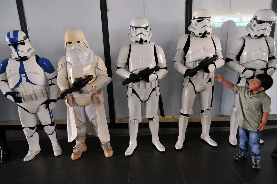 Imperial stormtroopers from the philippine garrison line up to greet