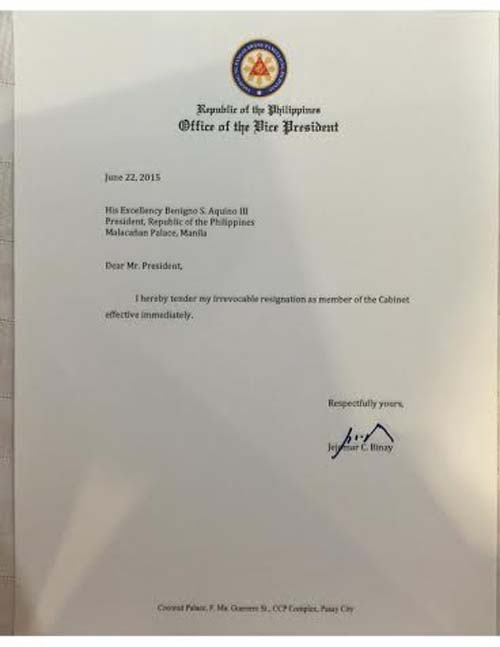 LOOK VP Binays One Sentence Resignation Letter