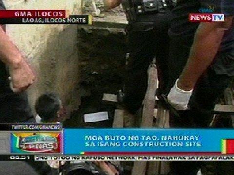 Mga buto ng tao, nahukay sa isang construction site sa Ilocos Norte