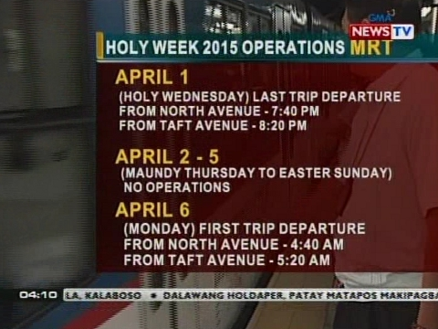 operasyon ng mrt at lrt sa holy week maikli