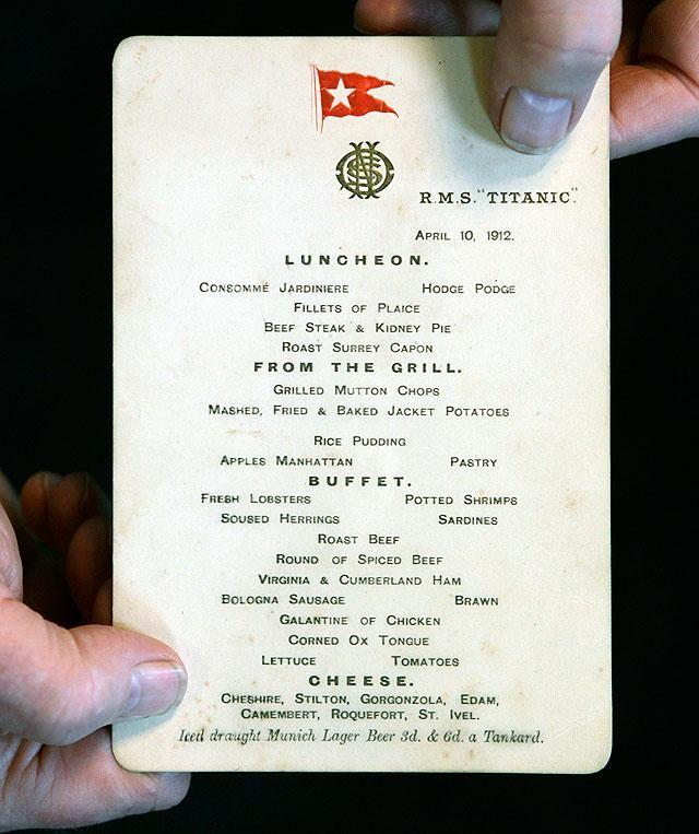 Titanic 39 S Last Lunch Menu Sells For 88 000 At Auction