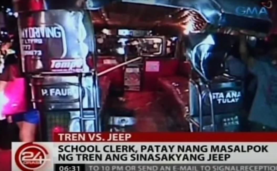 school clerk dies as train hits jeepney in manila news gma news