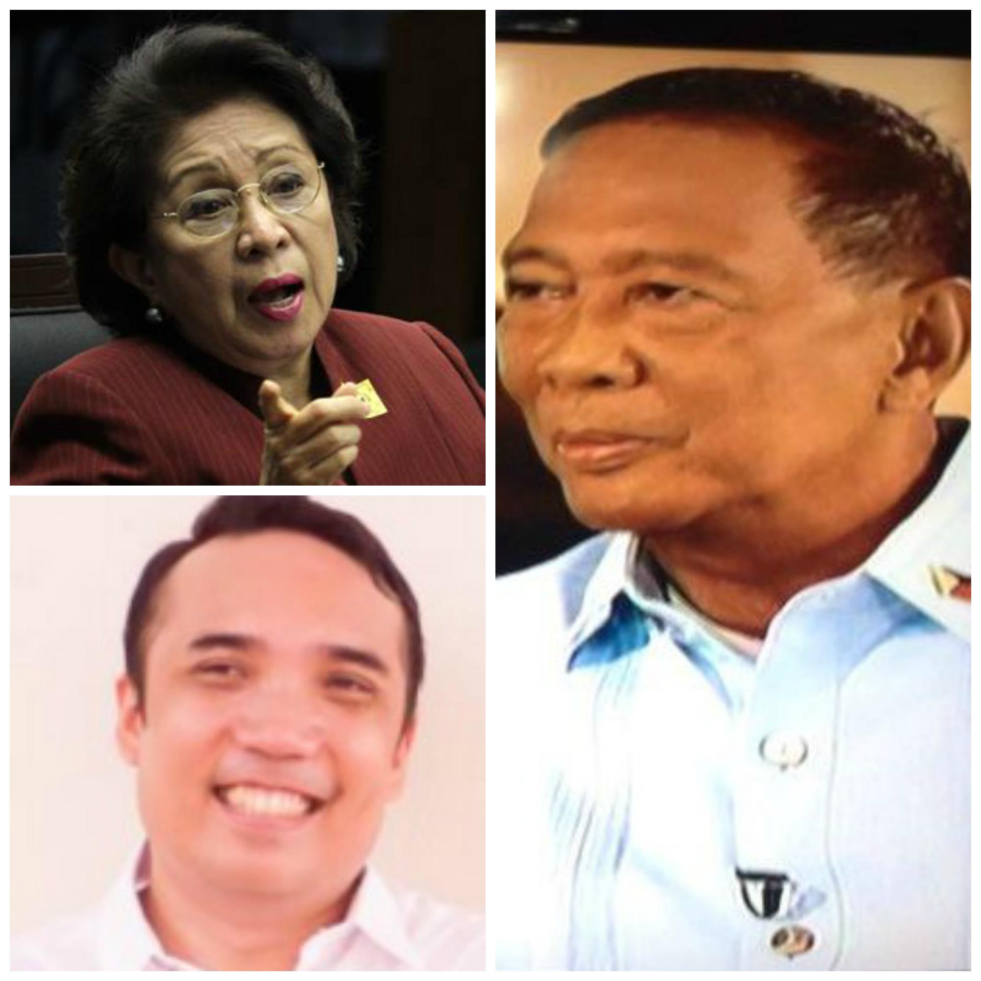 HE SAID, THEY SAID - Vice President Jejomar Binay (right) in a word war against Ombudsman Conchita Carpio-Morales (top left) and Daang Matuwid spokesman Ibarra Gutierrez (below left)