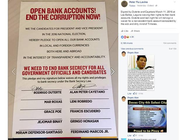 A copy of the waiver on bank secrecy ssigned by Davao City Mayor Rodigo Duterte, a presidential hopeful, and his running mate Senator Alan Peter Cayaetano. Screengrab from the Facebook account of Peter Laviña, spokesperson of Duterte
