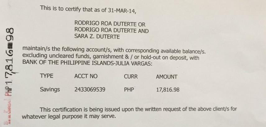 Duterte Shows Bank Account Balance From March 31 2014 News Gma
