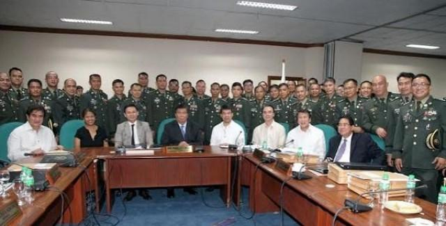 The Commission on Appointments led by its chair Senate President Franklin M. Drilon (4th from left, seated), approved the ad-interim appointments of 196 generals, flag and senior officers of the Armed Forces of the Philippines (AFP) Wednesday, June 01, 2016. The confirmation of the military officials came just days ?before the 16th Congress adjourns sine die next week. In photo are (from left) Senators Gringo Honasan, Nancy Binay, Sonny Angara, Koko Pimentel, Senate Majority Leader Alan Peter Cayetano, Ilocos Norte 1st District Representative Rodolfo Fariñas, and Cagayan de Oro City 2nd District Representative Rufus Rodriguez