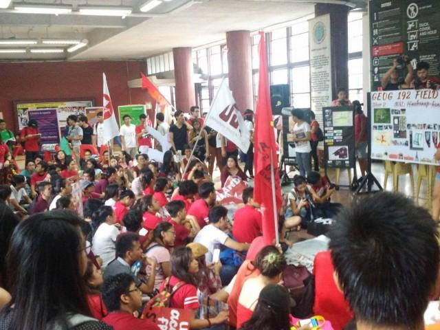 Students walk out of their classes to participate in street protests marking the 44th anniversary of Martial Law on Sept. 21, 2016. — Anakbayan