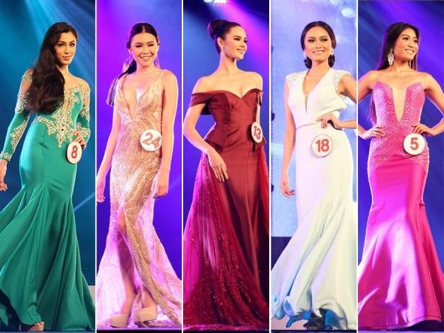 The Miss World Philippines candidates in glamorous evening gowns ...