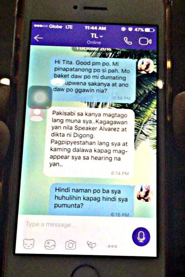 Umali gives court photos of De Lima-Dayan text exchange to prove