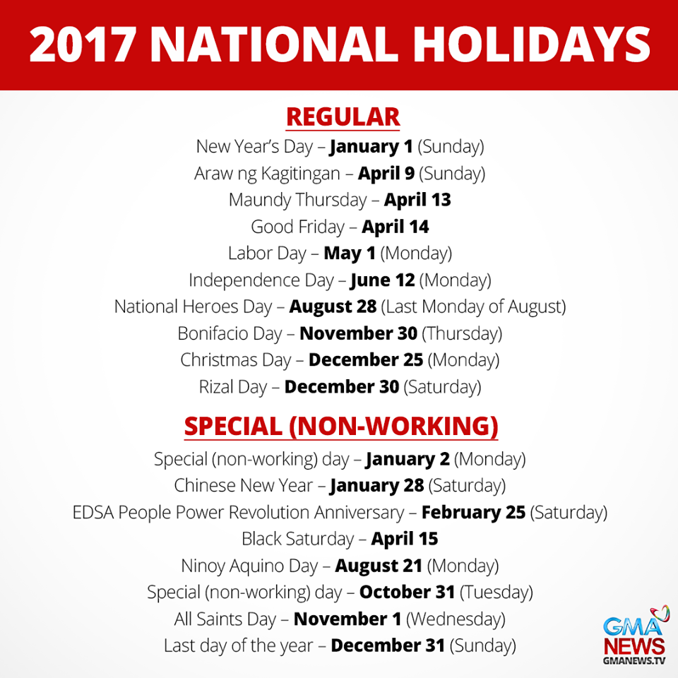 The List Does Not Include Eidl Fitr And Adha As Their Dates Recommended By National Commission On Muslim Filipinos Have Yet To Be Announced