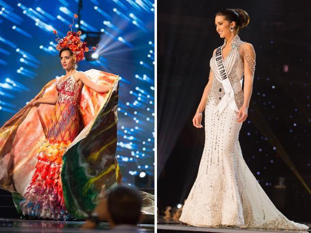Miss Mauritius, Miss Great Britain dressed by Filipino designers for ...