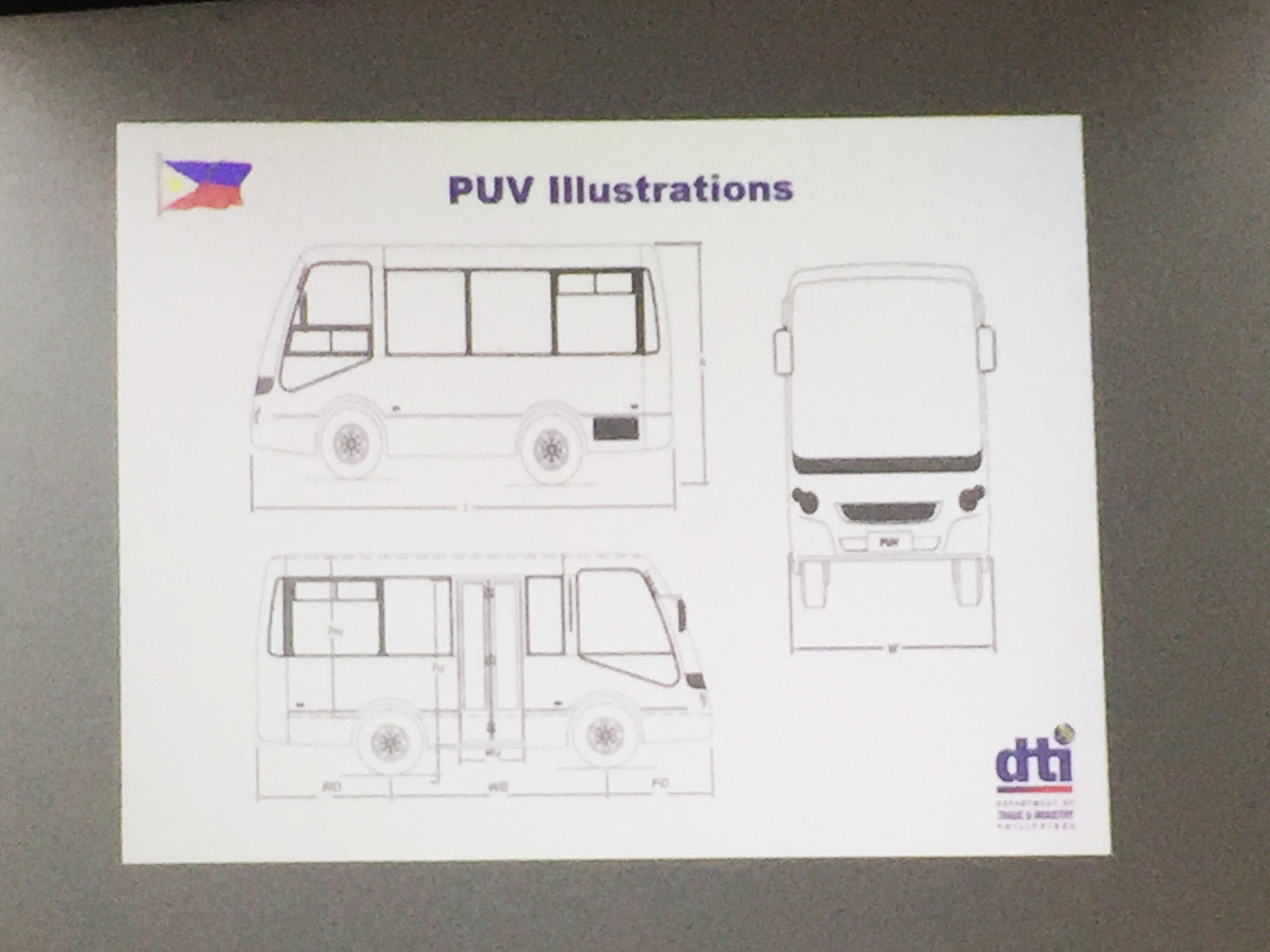 Dti reveals blueprint of modern jeepney prototype money gma news the department of trade and industry dti revealed the design blueprint of the modern jeepney tuesday or three months ahead of presenting the prototype malvernweather Images