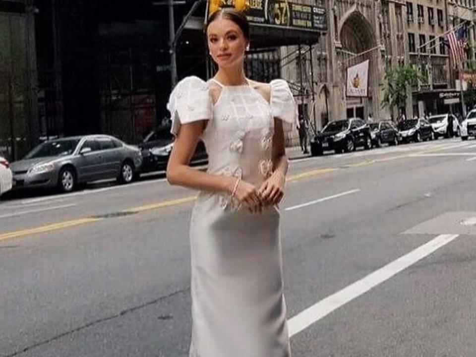 546c8fd3a82 Valerie Weigmann in a Filipiniana at the Philippine Independence Day parade  in New York