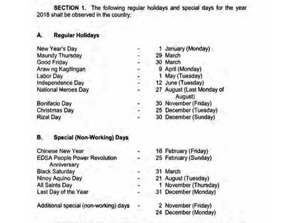 Regular holidays and special (non-working) days for 2018 | News ...