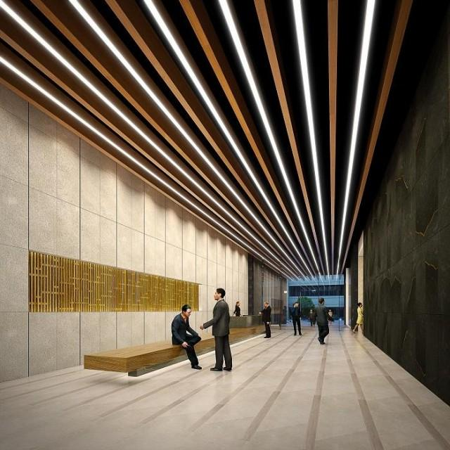 Digital rendering of Menarco Tower's lobby