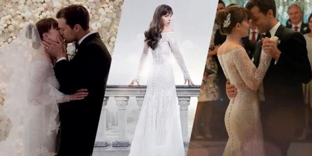 In Fifty Shades Freed Ana Steele Wears A Monique Lhuillier Wedding Gown