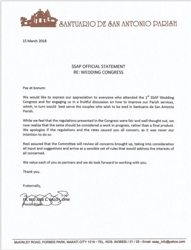 Santuario De San Antonio Parish To Review Wedding Rates Following