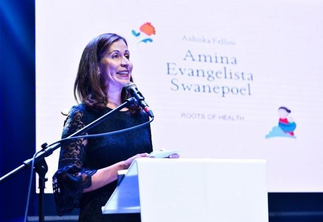 Amina being inducted as an Ashoka Fellow. February 21, 2018