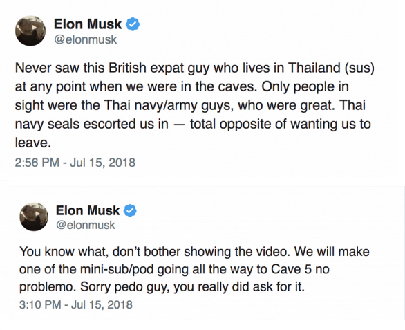 Two of Elon Musk's tweets, which were later deleted. Screencaps from Twitter