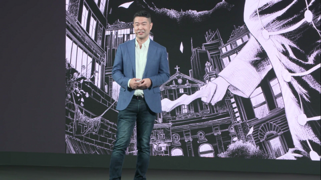 Taito Okiura making the announcement during the Netflix event in Singapore. Photo: Yvan Limson,GMA News