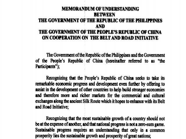 Phl China Mou On Belt And Road Initiative Money Gma News Online