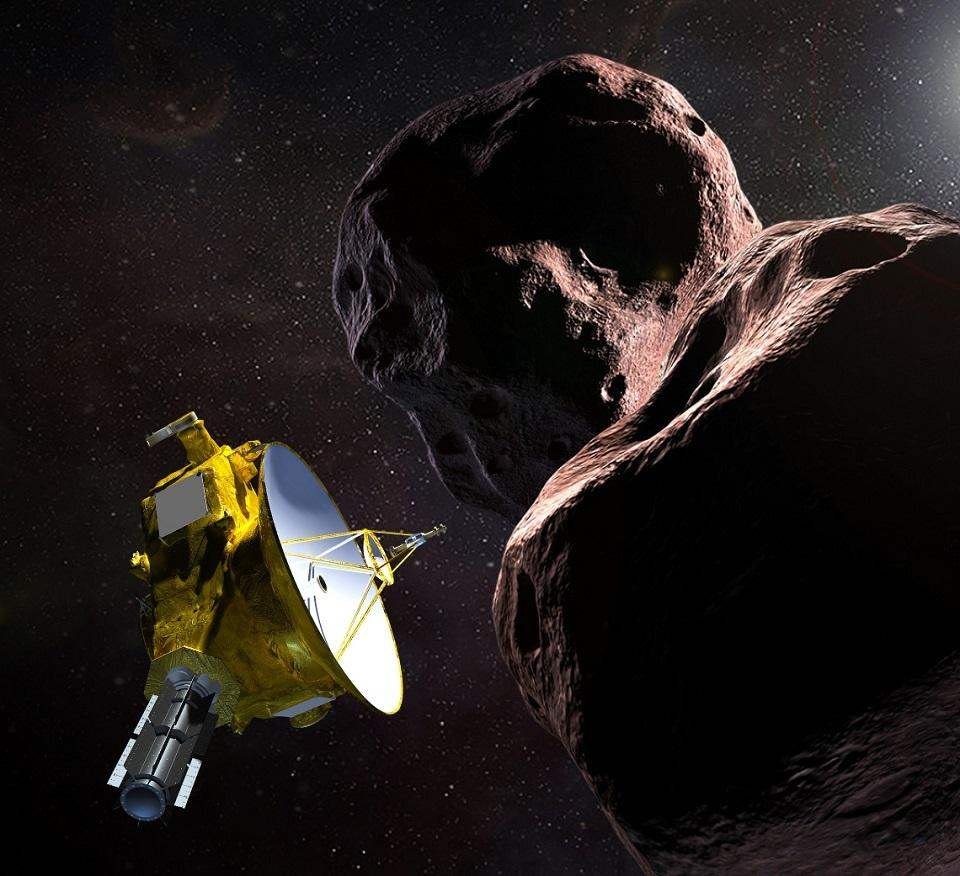 This artist's illustration obtained from NASA on December 21, 2018 shows the New Horizons spacecraft encountering 2014 MU69 or Ultima Thule, a Kuiper Belt object that orbits one billion miles beyond Pluto. The spacecraft is hurtling toward a historic New Year's Day flyby of the most distant planetary object ever studied. HO/NASA/JHUAPL/SwRI/AFP