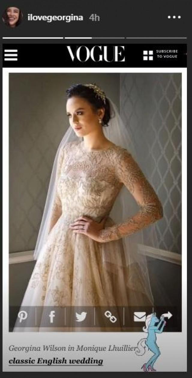 Georgina Wilsons Monique Lhuillier Wedding Dress Included In Vogue