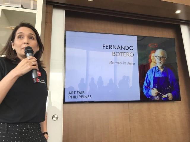 Art Fair Philippines' Lisa Periquet announcing the special Botero exhibit