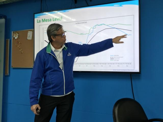 Manila Water chief operating officer Geodino Carpio shows the drop in water level at the La Mesa Dam as an effect of the onset of the El Niño phenomenon. Joviland Rita/GMA News