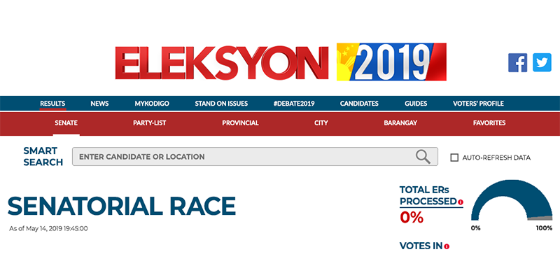 eleksyon 2019 live election results available at gma news online on may 13 2019