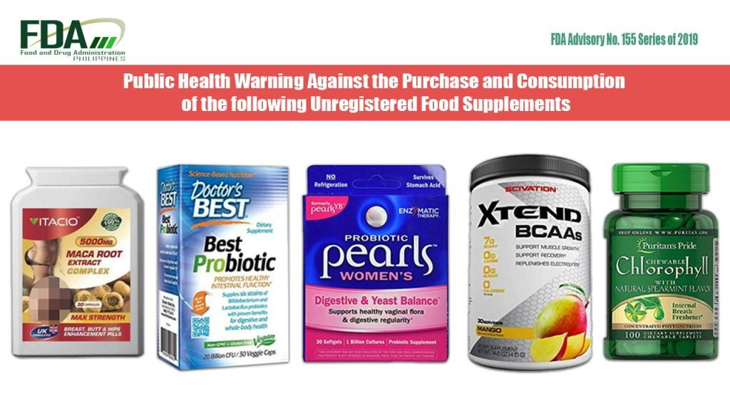 FDA warns public not to buy 5 food supplements on its list