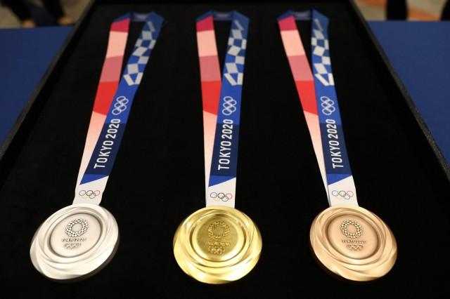 A closer look at the medal designs. REUTERS
