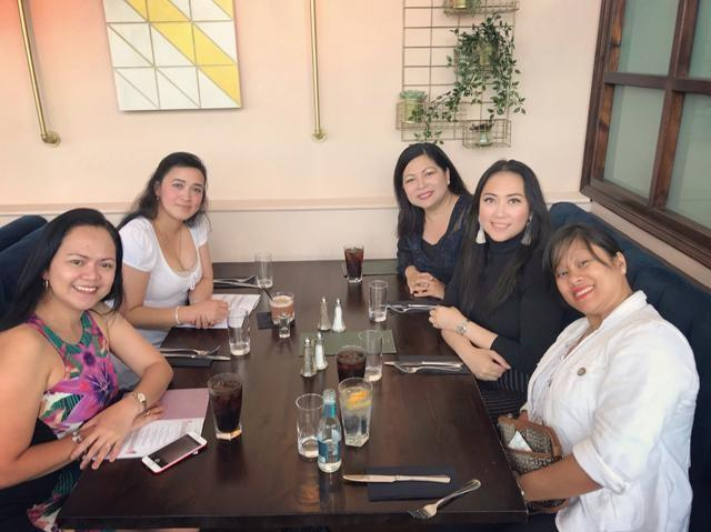 (Clockwise from Left to Right) Suzette Basilan-Graduated in 1996 at Remedios Trinidad Romualdez Medical Foundation, Tacloban City and currently works as Anticoagulation Clinical Nurse Specialist; Shiela Caluya - Graduated in 1997 at University of Santo Tomas, Manila and currently works as Breast Reconstruction and Practice Surgery Clinical Nurse Specialist; Marissa Samson- Graduated 1995 from Iloilo Doctors' College, Iloilo City and currently works as Clinical Lead Clinical advisor; Kit Torres- Graduated in 1999 at Angeles University Foundation, Angeles City and currently works as a Staff Nurse in Orthopaedics specialising in Bone Infection Unit and Surgical Enhanced Recovery Unit; and Mary Grace Mallorca-Graduated in 1998 at Riverside College, Bacolod city and currently works as Junior Nurse Practitioner.