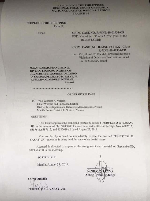 Ex-DFA chief Yasay posts bail | News | GMA News Online