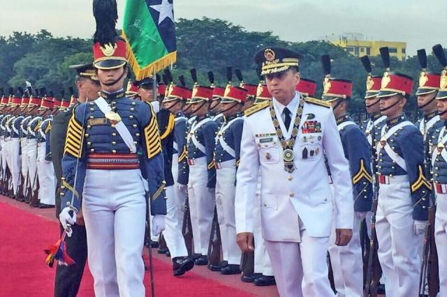Army Lt. Gen. Noel Clement, the new AFP chief, marches by a formation of cadets during his arrival at Camp Aguinaldo on Tuesday, September 24, 2019 for the turnover rites with outgoing AFP chief General Benjamin Madrigal. Anna Felicia Bajo