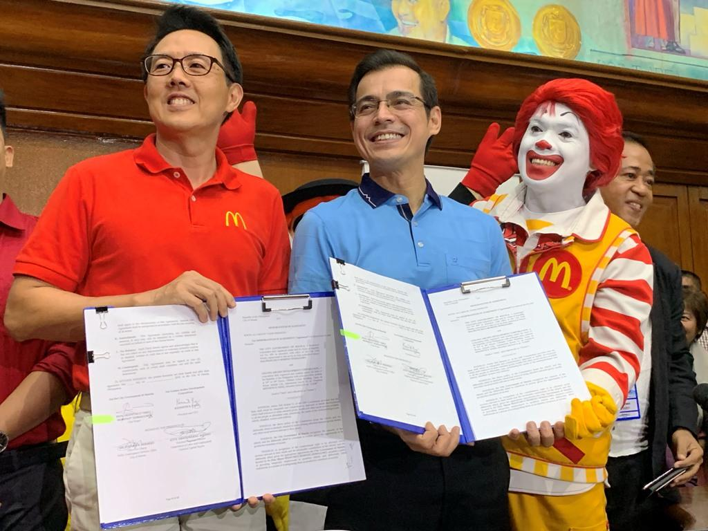 Manila Mayor Isko Moreno and McDonald's Philippines president and CEO signed a memorandum of agreement on Wednesday, Sept. 4, 2019, for the fast food company to employ the elderly and persons with disabilities (PWDs) in 40 McDonald's stores in the city. Ted Cordero