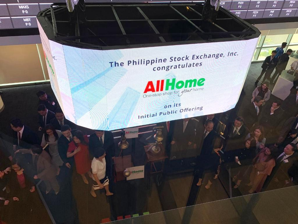 Shares of Villar-led AllHome Corp. opened at P11.62 per share during its market debut on Thursday, up 1.04% from its initial public offering price (IPO) of P11.50 per share.